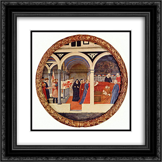 Birth tray 20x20 Black or Gold Ornate Framed and Double Matted Art Print by Masaccio