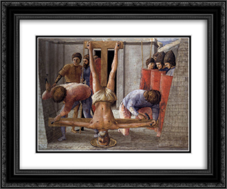 Crucifixion of St. Peter 24x20 Black or Gold Ornate Framed and Double Matted Art Print by Masaccio