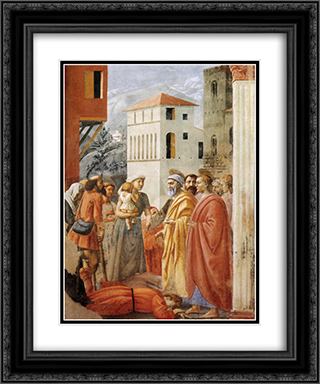 Distribution of Alms and Death of Ananias 20x24 Black or Gold Ornate Framed and Double Matted Art Print by Masaccio