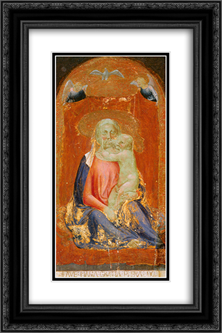 Madonna of Humility 16x24 Black or Gold Ornate Framed and Double Matted Art Print by Masaccio