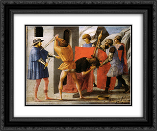 Martyrdom of San Giovanni Battista 24x20 Black or Gold Ornate Framed and Double Matted Art Print by Masaccio
