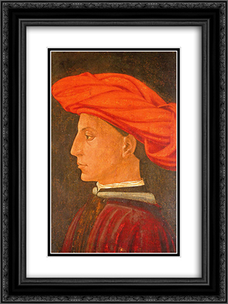 Portrait of a Young Man 18x24 Black or Gold Ornate Framed and Double Matted Art Print by Masaccio