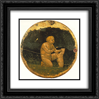 Putto and a Small Dog - back side of the Berlin Tondo 20x20 Black or Gold Ornate Framed and Double Matted Art Print by Masaccio