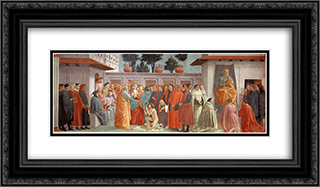 Raising of the Son of Teophilus and St.Peter Enthroned 24x14 Black or Gold Ornate Framed and Double Matted Art Print by Masaccio