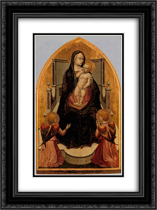 San Giovenale Triptych. Central panel 18x24 Black or Gold Ornate Framed and Double Matted Art Print by Masaccio