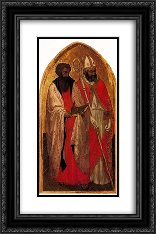 San Giovenale Triptych. Left panel 16x24 Black or Gold Ornate Framed and Double Matted Art Print by Masaccio