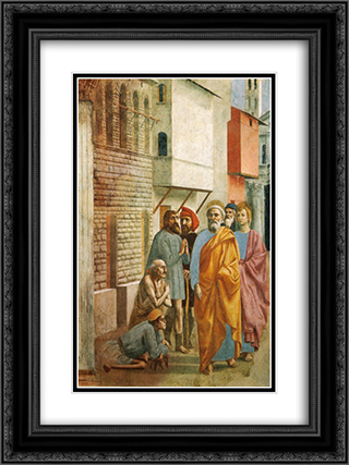 St.Peter Healing the Sick with His Shadow 18x24 Black or Gold Ornate Framed and Double Matted Art Print by Masaccio