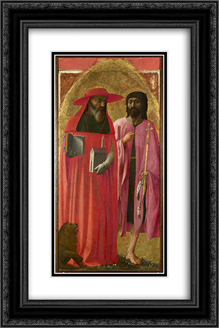 St Jerome and St John the Baptist 16x24 Black or Gold Ornate Framed and Double Matted Art Print by Masaccio