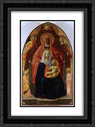 The Madonna and Child with st.Anna. 18x24 Black or Gold Ornate Framed and Double Matted Art Print by Masaccio