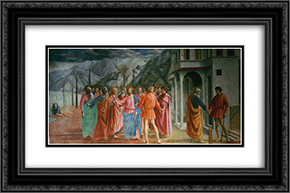 The Tribute Money 24x16 Black or Gold Ornate Framed and Double Matted Art Print by Masaccio