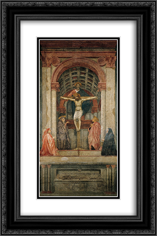 The Trinity 16x24 Black or Gold Ornate Framed and Double Matted Art Print by Masaccio