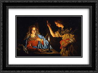 Annunciation 24x18 Black or Gold Ornate Framed and Double Matted Art Print by Matthias Stom