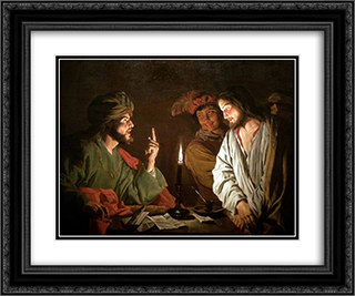 Christ before Caiaphas 24x20 Black or Gold Ornate Framed and Double Matted Art Print by Matthias Stom