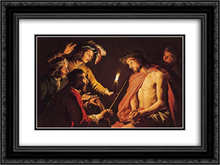 Christ Crowned with Thorns 24x18 Black or Gold Ornate Framed and Double Matted Art Print by Matthias Stom