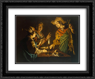Esau and Jacob 24x20 Black or Gold Ornate Framed and Double Matted Art Print by Matthias Stom