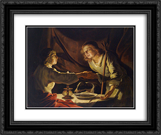Esau Sold Jacob his Birthright and the Mess of Pottage 24x20 Black or Gold Ornate Framed and Double Matted Art Print by Matthias Stom