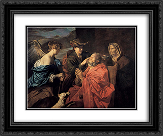 Healing of Tobit 24x20 Black or Gold Ornate Framed and Double Matted Art Print by Matthias Stom