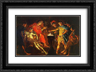 Mucius Scaevola 24x18 Black or Gold Ornate Framed and Double Matted Art Print by Matthias Stom