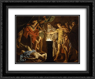 Mucius Scaevola in the Presence of Lars Porsenna 24x20 Black or Gold Ornate Framed and Double Matted Art Print by Matthias Stom