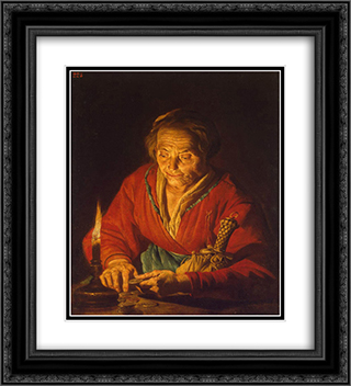 Old Woman with a Candle 20x22 Black or Gold Ornate Framed and Double Matted Art Print by Matthias Stom