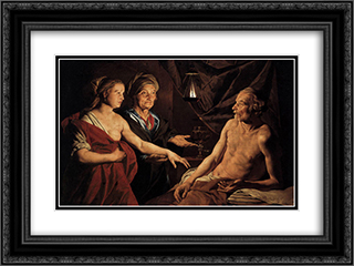 Sarah Leading Hagar to Abraham 24x18 Black or Gold Ornate Framed and Double Matted Art Print by Matthias Stom