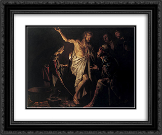 Saul and the Witch of Endor 24x20 Black or Gold Ornate Framed and Double Matted Art Print by Matthias Stom