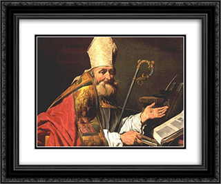 St. Ambrose 24x20 Black or Gold Ornate Framed and Double Matted Art Print by Matthias Stom
