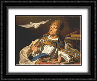 St. Gregory 24x20 Black or Gold Ornate Framed and Double Matted Art Print by Matthias Stom