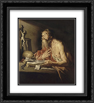 St. Jerome 20x22 Black or Gold Ornate Framed and Double Matted Art Print by Matthias Stom