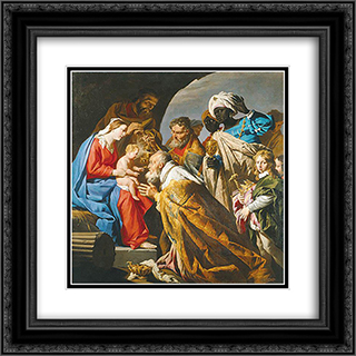 The Adoration of the Magi 20x20 Black or Gold Ornate Framed and Double Matted Art Print by Matthias Stom