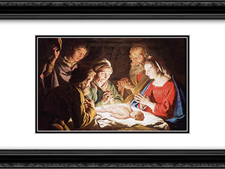 The Adoration of the Shepherds 24x18 Black or Gold Ornate Framed and Double Matted Art Print by Matthias Stom