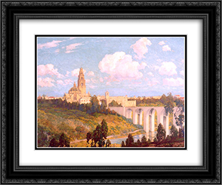 California Tower 24x20 Black or Gold Ornate Framed and Double Matted Art Print by Maurice Braun