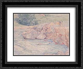 Rocks in a Stream 24x20 Black or Gold Ornate Framed and Double Matted Art Print by Maurice Braun