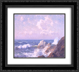 Seascape 22x20 Black or Gold Ornate Framed and Double Matted Art Print by Maurice Braun