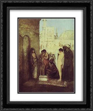 Cairo Slave Market 20x24 Black or Gold Ornate Framed and Double Matted Art Print by Maurycy Gottlieb