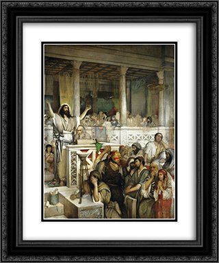 Christ Preaching at Capernaum 20x24 Black or Gold Ornate Framed and Double Matted Art Print by Maurycy Gottlieb