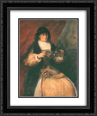 Girl with Flowers 20x24 Black or Gold Ornate Framed and Double Matted Art Print by Maurycy Gottlieb