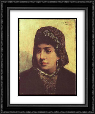 Head of a Jewish Bride 20x24 Black or Gold Ornate Framed and Double Matted Art Print by Maurycy Gottlieb