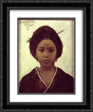 Japanese Woman 20x24 Black or Gold Ornate Framed and Double Matted Art Print by Maurycy Gottlieb