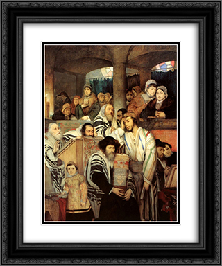 Jews Praying in the Synagogue on Yom Kippur 20x24 Black or Gold Ornate Framed and Double Matted Art Print by Maurycy Gottlieb