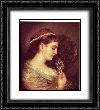 Lady with a Fan 20x22 Black or Gold Ornate Framed and Double Matted Art Print by Maurycy Gottlieb