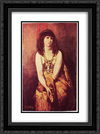 Odalisque 18x24 Black or Gold Ornate Framed and Double Matted Art Print by Maurycy Gottlieb