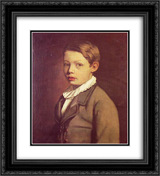 Portrait of a Boy from the Gottlieb Family 20x22 Black or Gold Ornate Framed and Double Matted Art Print by Maurycy Gottlieb