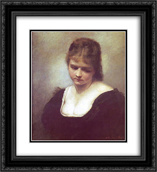 Portrait of a Woman 20x22 Black or Gold Ornate Framed and Double Matted Art Print by Maurycy Gottlieb