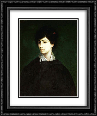 Portrait of a young Jewish woman 20x24 Black or Gold Ornate Framed and Double Matted Art Print by Maurycy Gottlieb