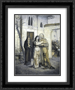 Recha welcoming her father 20x24 Black or Gold Ornate Framed and Double Matted Art Print by Maurycy Gottlieb