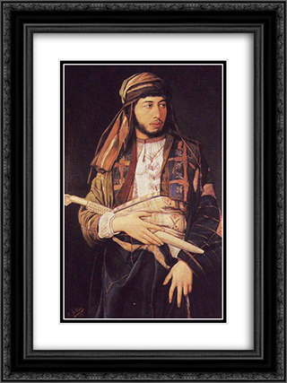 Self-Portrait in Arab Dress 18x24 Black or Gold Ornate Framed and Double Matted Art Print by Maurycy Gottlieb