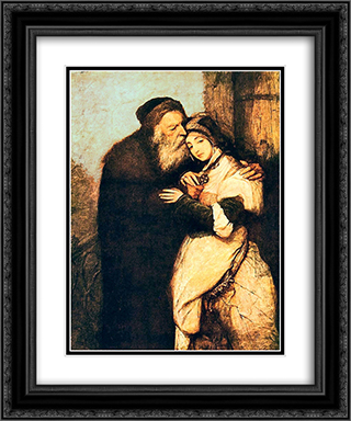 Shylock and Jessica 20x24 Black or Gold Ornate Framed and Double Matted Art Print by Maurycy Gottlieb
