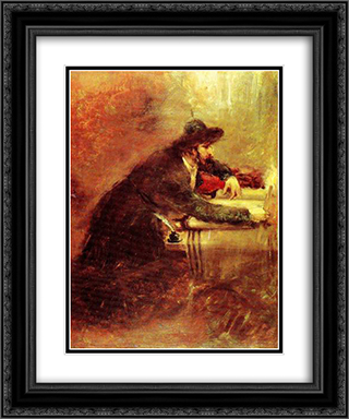 Torah Scribe 20x24 Black or Gold Ornate Framed and Double Matted Art Print by Maurycy Gottlieb