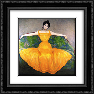 Lady in Yellow Dress 20x20 Black or Gold Ornate Framed and Double Matted Art Print by Max Kurzweil